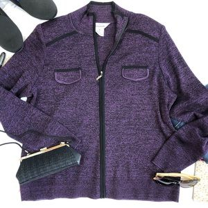Exclusively misook sweater cardigan zipper  M A30